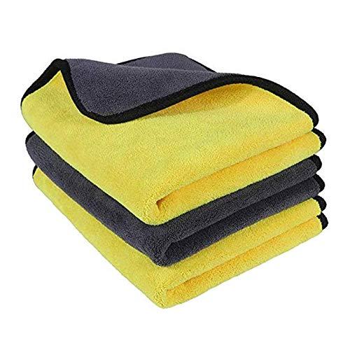 YuuHeeER Paño de limpieza de microfibra para coche, sin pelusa, toalla de secado de microfibra, paquete de 3