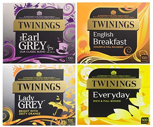 Twinings 4 Favor Tea Bags 400 Count (Earl Grey | English Breakfast | Lady Grey | Everyday Black Tea) Multipack of 4 x 100 Bags