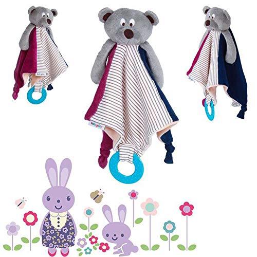 Waroomss 1PCS Neugeborenes Baby Tröster Spielzeug Baby Bear Square Handtuch Niedlicher Tierentwurfs-sicherer Umarmungs-Stoff Pädagogische Puppe Mit Dem Beißring, Der Tuch Beschwichtigt
