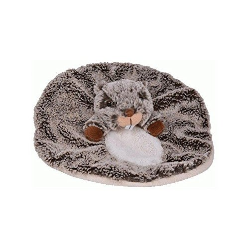 Histoire d'ours - Peluches et Doudous - Doudou plat Marmotte - Marron gris chiné et blanc - Collection : Studio - Peluche bébé 28 cm