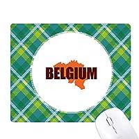 ベルギーの地図 緑の格子のピクセルゴムのマウスパッド
