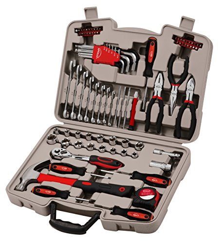 APOLLO TOOLS 86 Piece Basic Household Tool Set for Home and Vehicle DIY Repairs Includes Essential Wrenches and Sockets with Compact Case for Garage or Trunk - DT0138