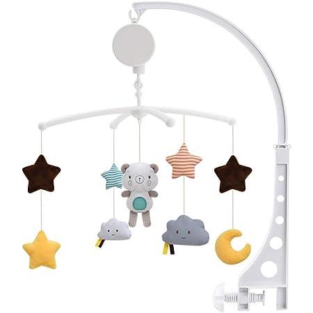 ベッドメリー おもちゃ 幼児 ベッドベルラトル 360度回転 音楽 睡眠用品 取り外し可能な 柔らかい 赤ちゃんの遊び ワインドアップオルゴール 子供用寝具