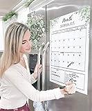 Dry Erase Board Calendar Magnetic Monthly Calendar Planner for Fridge 16 X 20 Large Calendar Kitchen Whiteboard with Meal Planner