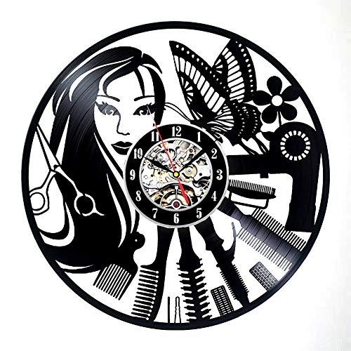 Barber Shop décoration d'intérieur salon de coiffure de vinyle horloge de coiffeur art déco murale,Black,12inch
