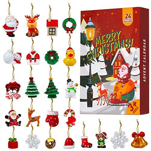 Calendrier de l'avent 2020, Coffret de 24 Ornements Noël, Compte à rebours Noël Décoration pour Sapin de Noël, Cadeau Noël pour Enfants