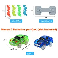 Symiu Pista Macchinine Giocattolo Pista Cars Luminosa Veicoli con Flessibile 240 Pezzi e 2 LED Cars per Bambini 3 #6