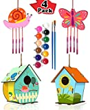 HOME COMPOSER 4 Pack DIY Bird House Wind Chime Kits for Children to Build and Paint, Wooden Arts and Crafts for Kids Girls Boys Toddlers Ages 8-12 4-6 6-8, Paint Kit Includes Paints & Brushes