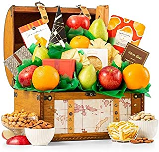 Premium Grade Fruit and Gourmet Treasure Gift Basket | Includes Fresh Pears, Apples, Oranges, Peanut Brittle & More | Reus...