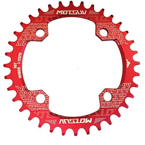 XUJINQI Horquilla de Bicicleta de montaña, Estrecho Ancho Chainring MTB Bicicletas 104BCD Piezas Diente de Placas (Color : Red)