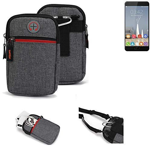 K-S-Trade® Gürtel-Tasche Für Oukitel K6000 Plus Handy-Tasche Schutz-hülle Grau Zusatzfächer 1x