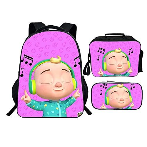 Mochila C-ocomelon para portátil con bolsa de almuerzo para niños, Patrón-11, Taille unique