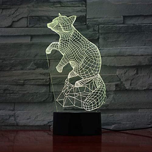 Night Light Kids 3D Illusion Animal 3D Led 3D Illusion Lámpara de escritorio Mesita de...