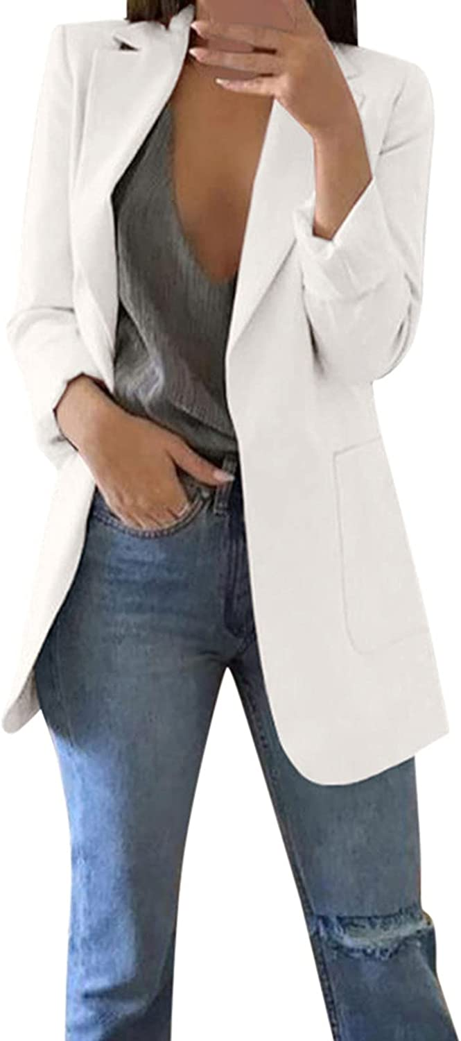 Women's White Windproof Jacket Long Sleeve Office Coat Cardigans Suit Autumn Winter Long Jacket Tops with Pockets
