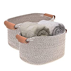 """Labcosi Cotton Rope Storage Basket with Vegan Leather Handle Set of 2, Woven Storage Bin for Nursery, Magazines, Clothes-14""""L11""""W8""""H"""