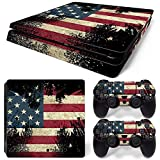 DAPANZ The Flag of American Vinyl Skin Sticker Decal Cover for Sony Playstation 4 Slim Console and DualShock 4 Controller Skin