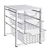 Auledio Stackable Mesh Cabinet Basket Organizer with 3 Tier Wire Grid Sliding Drawer, Multi-Function Storage Organizer for Kitchen Counter, Desktop, Under Sink, Silver