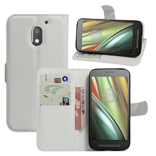 HualuBro Moto E3 Hülle, Premium PU Leder Leather Wallet HandyHülle Tasche Schutzhülle Flip Case Cover für Lenovo Motorola Moto E3 Smartphone (Weiß)