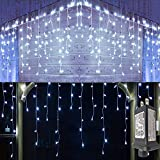 YASENN Icicle Lights 300 Led String Lights 29.5Ft Christmas Lights Connectable 8 Lighting Modes Multifunction with Timer Plug for Christmas Garden Patio Eave Roof Wall Decorations(Cool White)