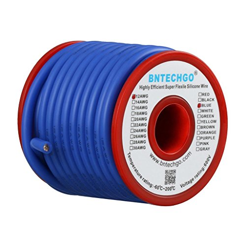 BNTECHGO 12 Gauge Silicone Wire Spool 25 ft Blue Flexible 12 AWG Stranded Tinned Copper Wire