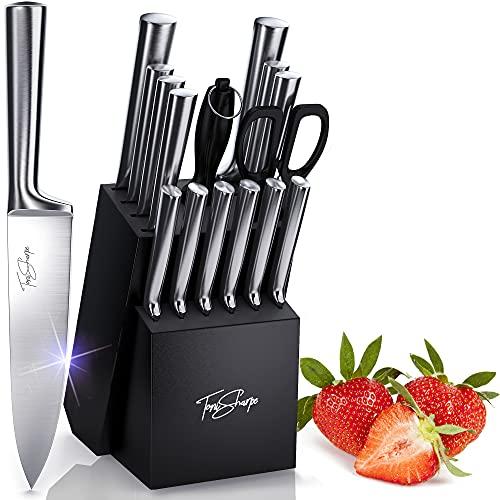 Toni Sharpe 16 Piece Kitchen knives with Wooden Block, Meat Scissors, Serrated Steak Knives and Knife Sharpener - Japanese Steel knife set