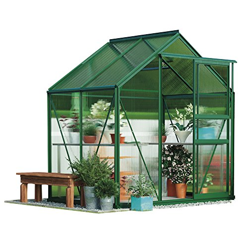 Garden Grow Polycarbonate Greenhouse Large Walk-in Garden Growhouse, Rust-proof Frame, Sliding Door & Supported Twin Wall Panels with Steel Base 6x4 ft (Green)