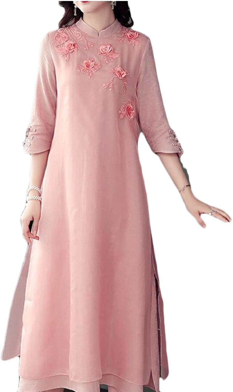 Gocgt Women Vintage Half Sleeve Qipao Cheongsam Maxi Cocktail Dress