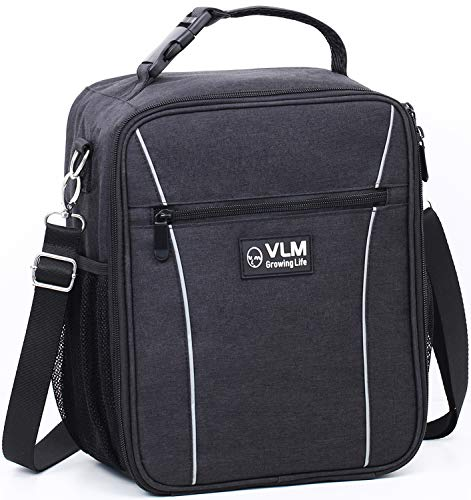 VLM Lunch Box,Insulated Lunch Bags for Boys,Men,Adults -  Leakproof Spacious Lunchbox for Women,Work,School - Reusable Lunch Cooler  with Shoulder Strap,Pockets (Black)