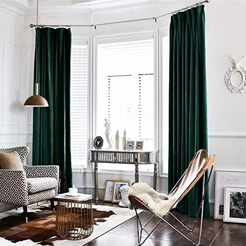 Green Curtains Velvet Drapes Bedroom Window Curtains 84 Inch Long Living Room Rod Pocket Window Treatment Set 2 Panels
