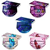 Butterfly Print Colorful Disposable Face Mask Floral Decorative Fashion 3Ply Women Adults Mouth Covers 10/20/50/100 PCS (ZF-50PCS (Mixed Colors))
