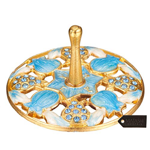 Matashi Gold-Plated, Hand-Painted Blue Pomegranate Spinning Dreidel Holiday Ornaments (Pewter) Vintage Design, Embellished Crystals Hanging Decoration