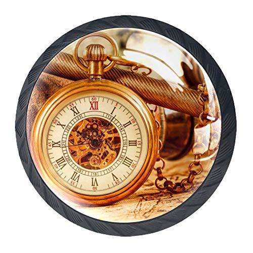 Reloj Bokeh Reloj de bolsillo Reloj vintage Perillas de gabinete 4 pcs...