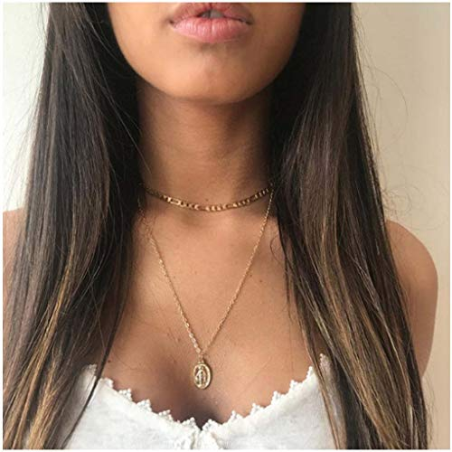 Olbye Virgin Mary Pendant Necklace Gold Layering Necklace Choker for Women and Girls Medallion Oval Necklace