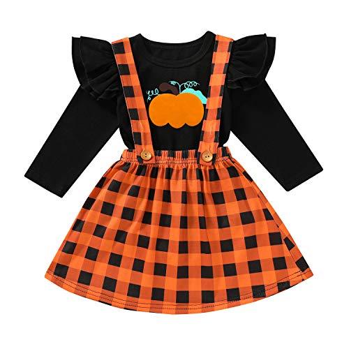 Halloween/Thanksgiving Kids Toddler Baby Girl Outfits Ruffle Sleeve Shirt+Turkey/Pumpkin Overall Skirt Set Clothes (Pumpkin#3, 1-2 Years)