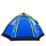 Flexzion Instant Family Tent - 4 Person Large Automatic Pop Up for Outdoor Sports Camping Hiking Travel Beach with Zippered Door and Carrying Bag in Blue