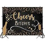bailingniao Fondo para fotografía de Cheers Bitches Golden Champagne Glitter Decoración de fiesta de cumpleaños Banner para estudio fotográfico de 1,5 x 2,1 m