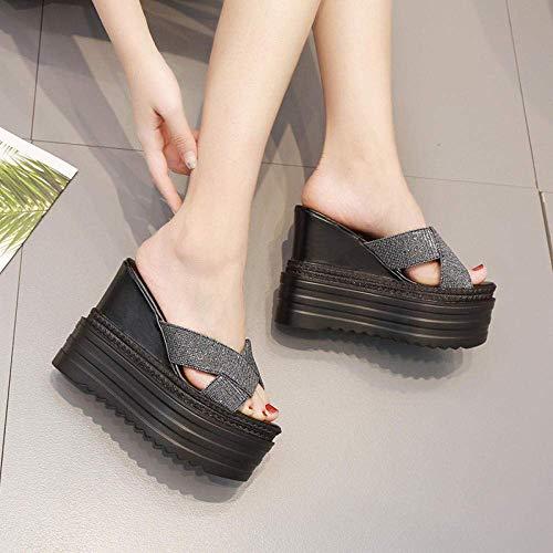 CCJW Sandalias de cuña media con tacón de flor, plataforma para mujer, tacón de cuña, impermeable, plataforma antideslizante, color negro, 36, sandalias de ducha