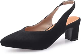BalaMasa Womens ASL06335 Pu Block Heels