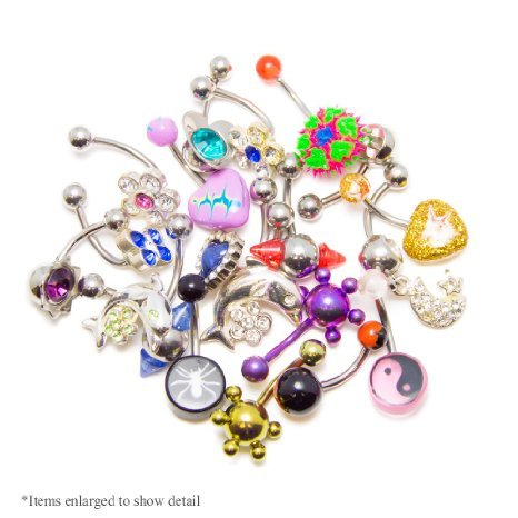 Lot Of 20pc Belly Bottun Rings 14g Surgical Steel Mix Randomly By Eg Gifts