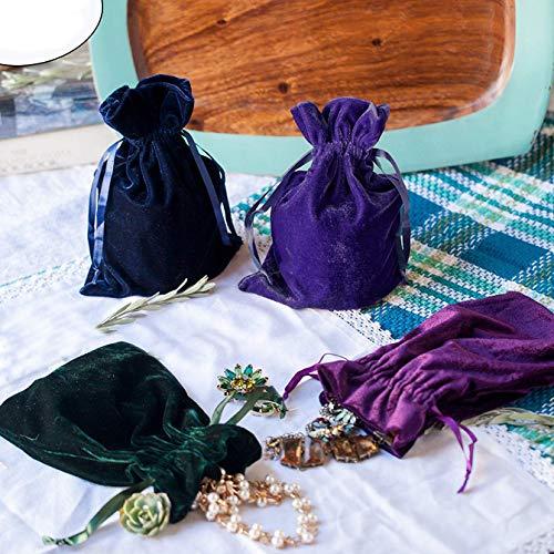 Huji Luxurious Cloth Velvet Soft Tarot Magic Drawstring Bags Jewelry Pouch Bags Tarot Card Size Dice Bags Bundle of 4: Moss Green, Navy Blue, Purple, and Indigo 6' X 9' (1, Pack of 4)