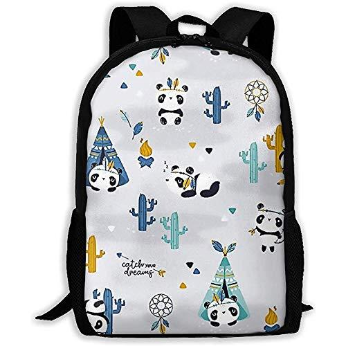 Bookbag Süß Lustig Panda Im Zelt Und Kaktus Schule Bookbag Lässig Reisetasche Mädchen Teen Boys Rucksack