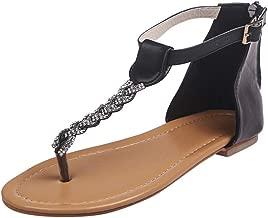POPLY Sandals for Women,Women Summer Sandals Shiny Bling Crystal Rhinestone Flats Sandals Flip Flops Alloy Chain Strap UK Size 4-8