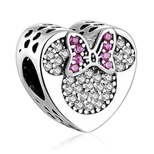 LIIHVYI Pandora Charms para Mujeres Cuentas Plata De Ley 925 Joyas Auténticas Arco True Love Girl Boy Mouse Brazalete Pave Cristales Compatible con Pulseras Europeos Collars