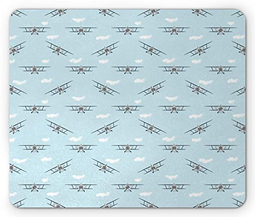 Alfombrilla para ratón de avión, biplanos de Aviones Antiguos en diseño Retro de alas de hélices de Cielo Azul, Alfombrilla de Goma Rectangular Antideslizante, Azul Blanco