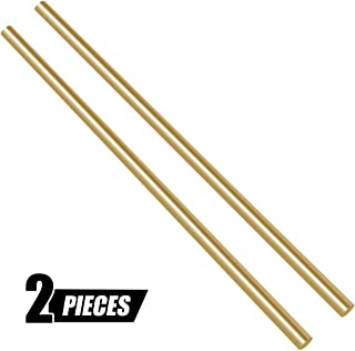 Swpeet 2Pcs 1/4 Inch in Diameter 14 inch in Length Brass Solid Round Rod Lathe Bar Stock Kit, Perfect for Various Shaft, Miniature Axle, Model Plane, Model Ship, Model Cars