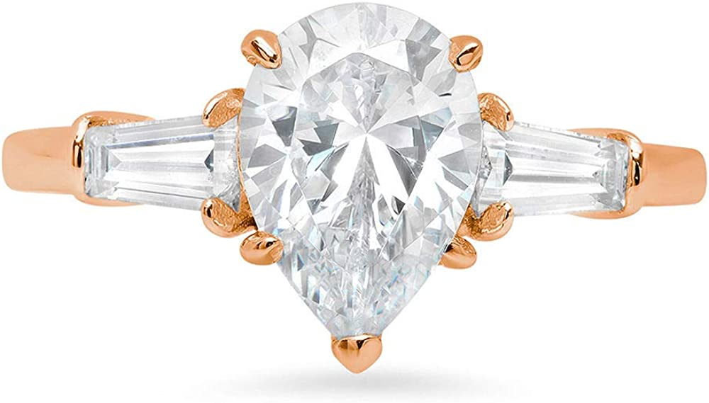 2.44ct Pear Baguette cut 3 stone Solitaire with Accent Genuine Moissanite Ideal VVS1 D & Simulated Diamond Engagement Promise Statement Anniversary Bridal Wedding Ring Solid 14k Rose Gold