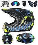 DRYT Casco Motocross Niño, Casco de motocross profesional Cascos de Cross de Moto Set con Gafas/Máscara/Guantes, para MTB Casco Enduro MX Quad ATV de Descenso (H,M: 57-58 cm)