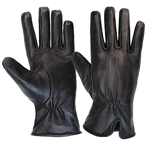 ALPIDEX Guantes de piel para mujer Guantes de invierno Guante de cuero genuino disponible en diferentes tamaños - Tamaño S ; Negro