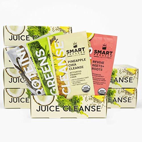 Smart Pressed Juice 7-Day Organic Juice Cleanse   Healthy Weight Loss & Detox Program   Vegan Vanilla Protein, Cold-Pressed Green Juice, Beets Juice & Pineapple Chia Cleanse   High Fiber & Vegan