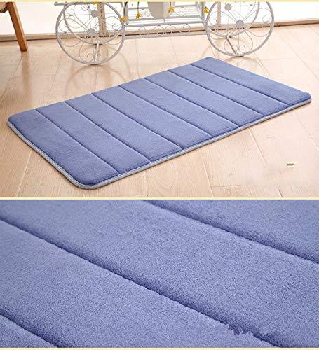 1PC 40x60cm Home Bath Mat Non-slip Bathroom Carpet Soft Coral Fleece Memory Foam Rug Mat kitchen Toilet Floor Decor - Navy blue,A1